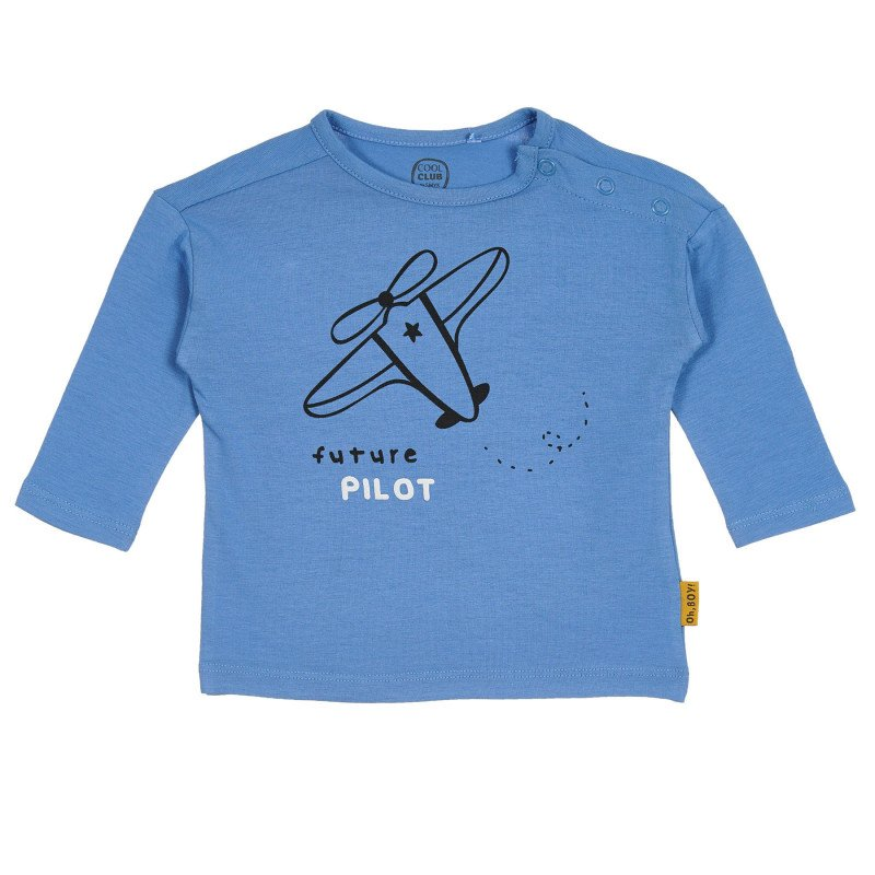 Βαμβακερή μπλούζα με τύπωμα βρεφικού αεροπλάνου, μπλε  270630