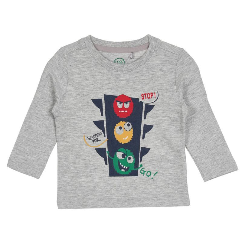 Cool Club μακρυμάνικη βαμβακερή βρεφική μπλούζα με τύπωμα φανάρι, γκρι για αγόρια  270680