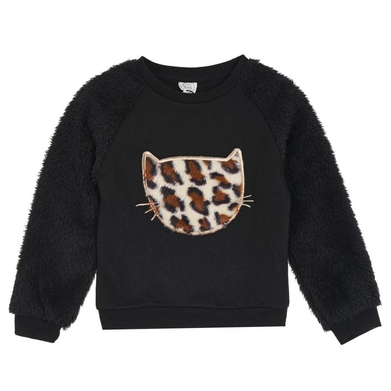 Φούτερ με χνουδωτά μανίκια και απλικέ γατάκι, μαύρο  271057