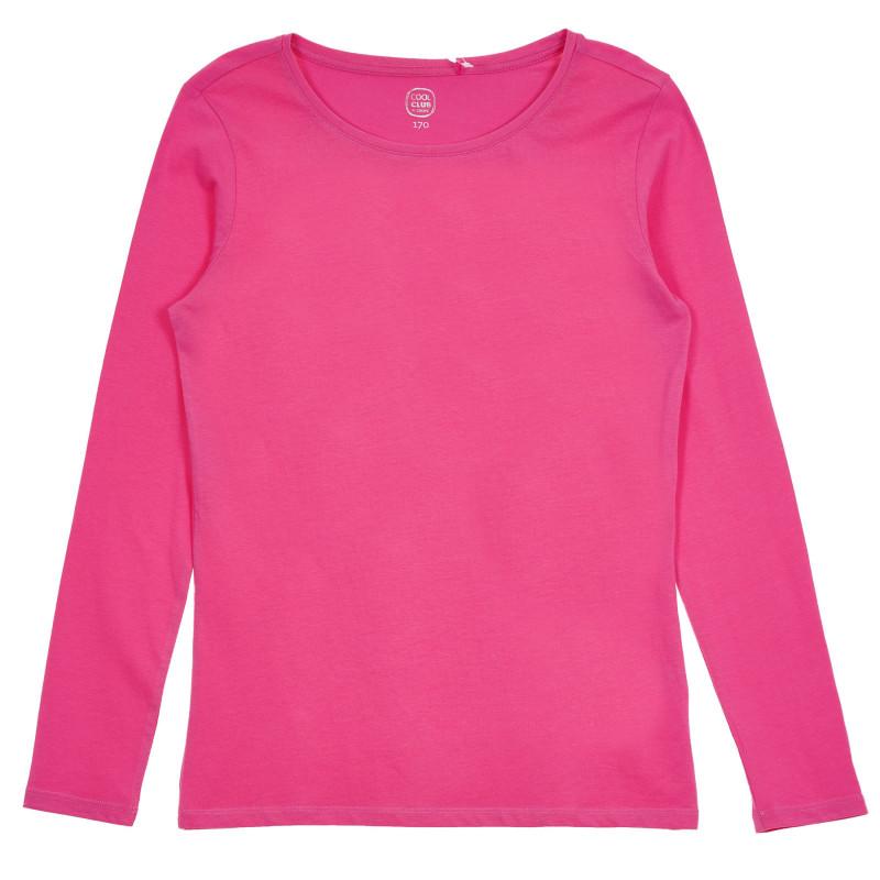 Βαμβακερή μπλούζα με μακριά μανίκια, ροζ  271417