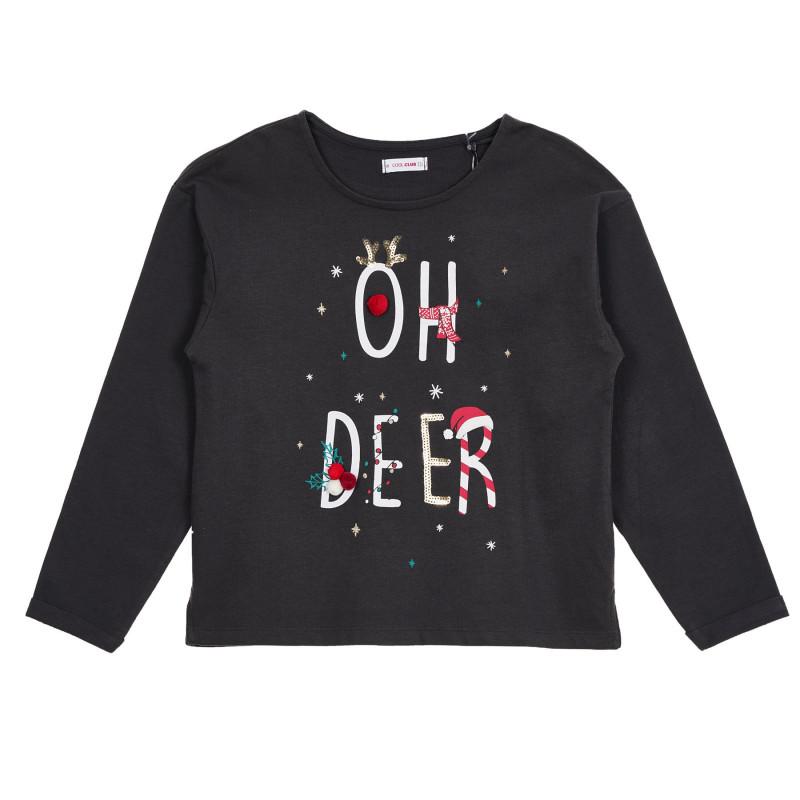Βαμβακερή μπλούζα με χριστουγεννιάτικο print Ελάφι, μαύρο  271491