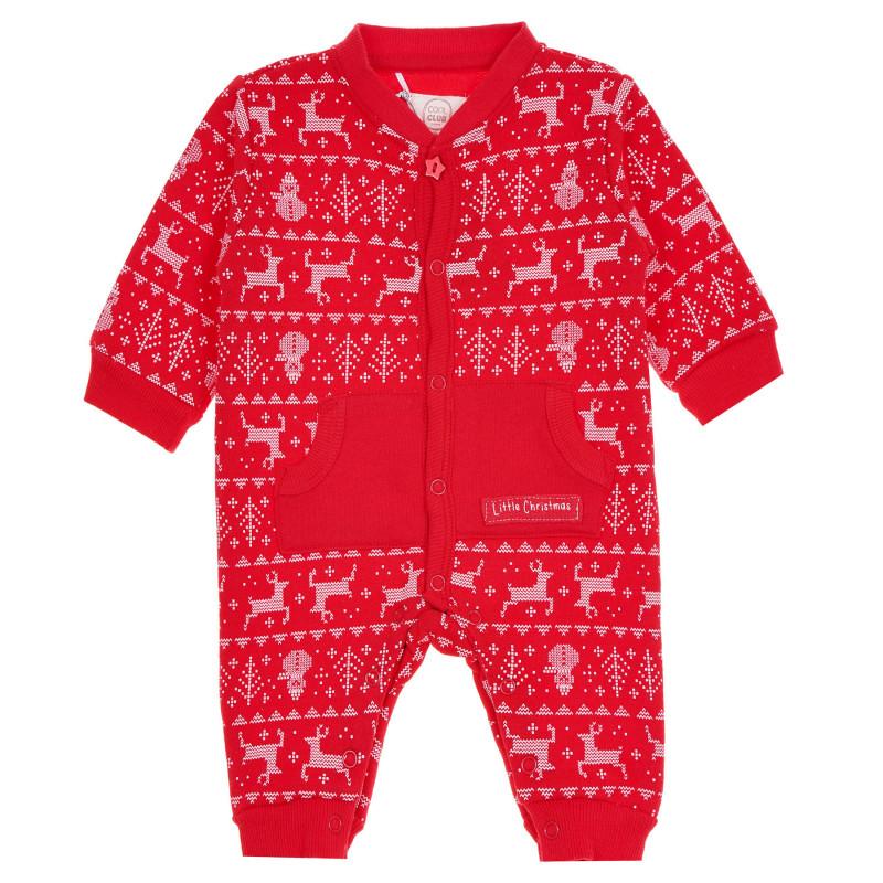 Ολόσωμη βρεφική φόρμα με χριστουγεννιάτικο τύπωμα Litlle Christmas, κόκκινη  271885