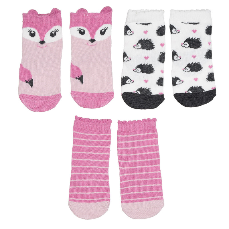 Σετ με τρία ζευγάρια βρεφικές κάλτσες σε ροζ και λευκό  272109