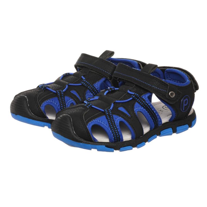 Σανδάλια με ελαστικά κορδόνια σε μπλε και μαύρο χρώμα  273270