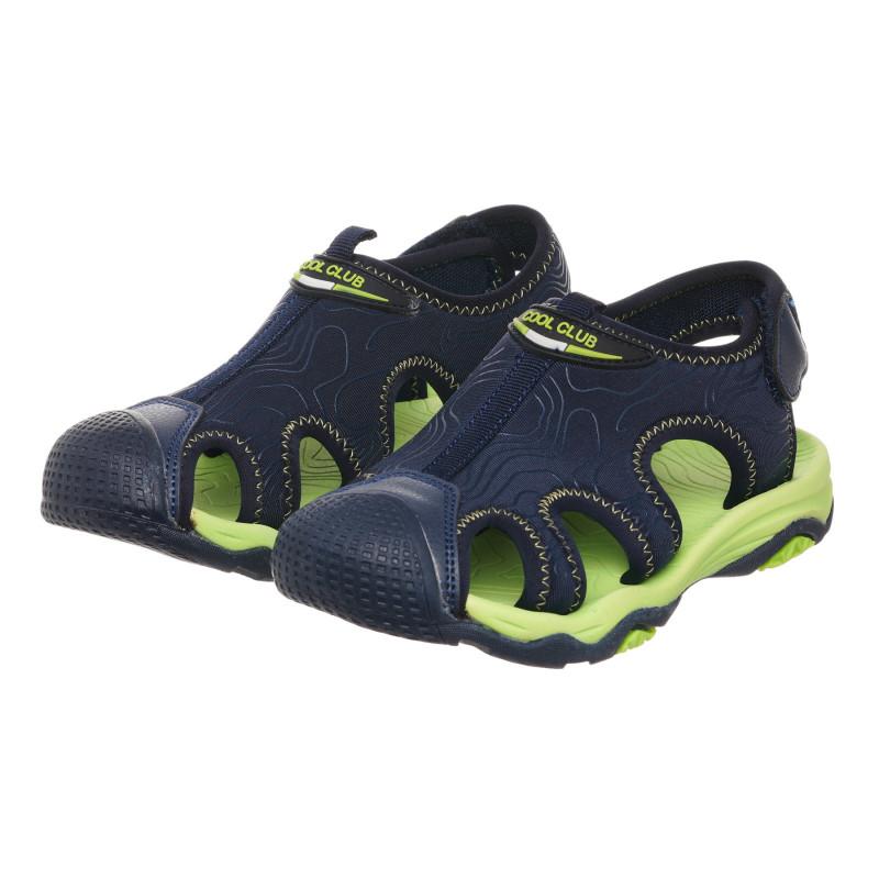 Σανδάλια με πράσινες πινελιές, σκούρο μπλε  273374