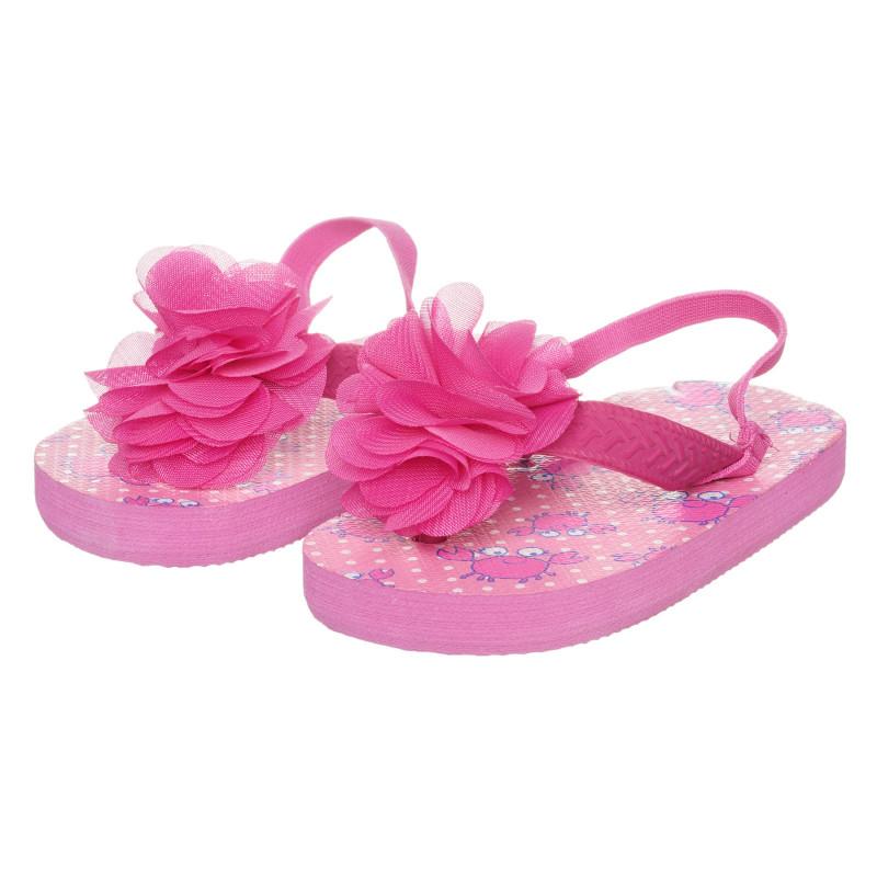 Σανδάλια toe με λουλούδι, ροζ  273764