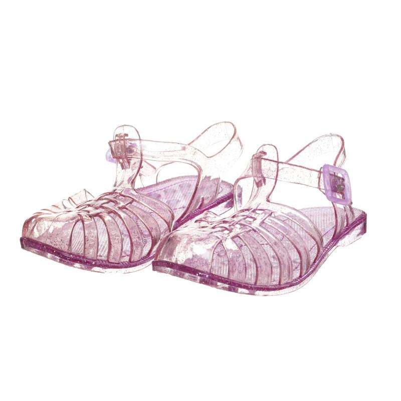 Λαστιχένια σανδάλια με μπροκάρ, μοβ  273767