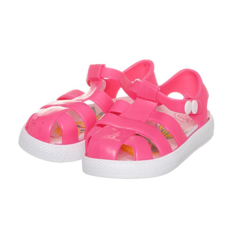 Λαστιχένια σανδάλια με κουμπί tic-tac, ροζ  273801