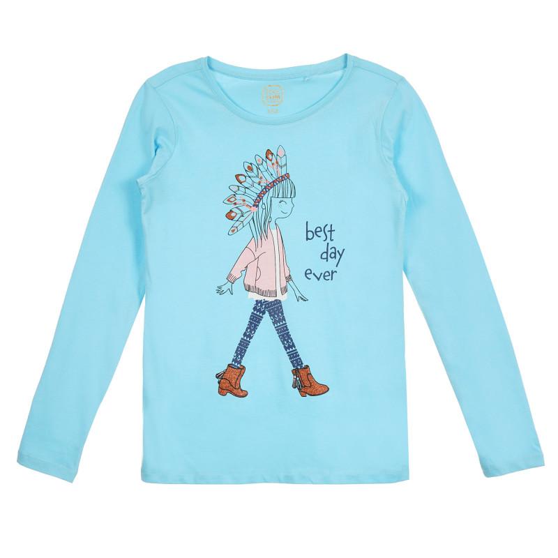 Μπλούζα με γραφιστικό σχέδιο, μπλε  274340