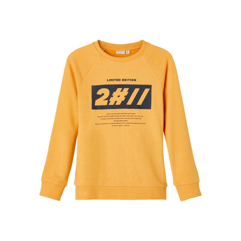 Βαμβακερή μπλούζα με μακριά μανίκια και γραφική εκτύπωση, κίτρινη  278245