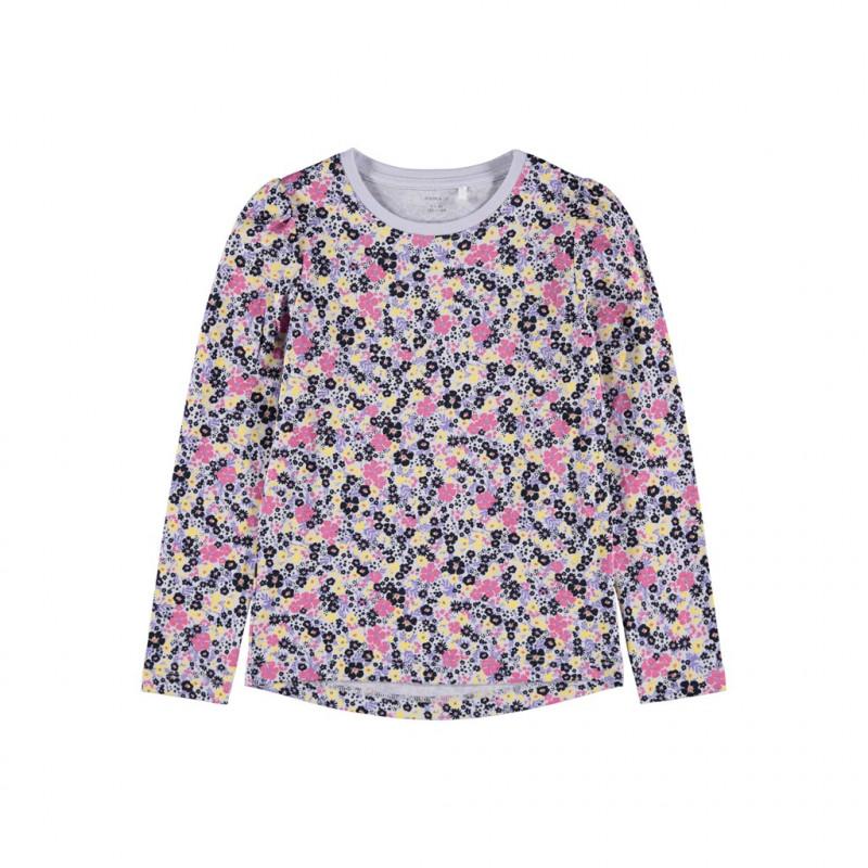 Βαμβακερή μπλούζα με μακριά μανίκια και floral print, μοβ  278597