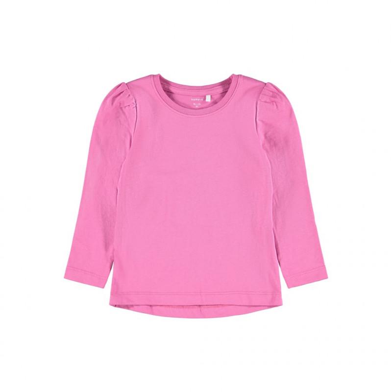 Βαμβακερή μπλούζα με μακριά μανίκια, ροζ  278599