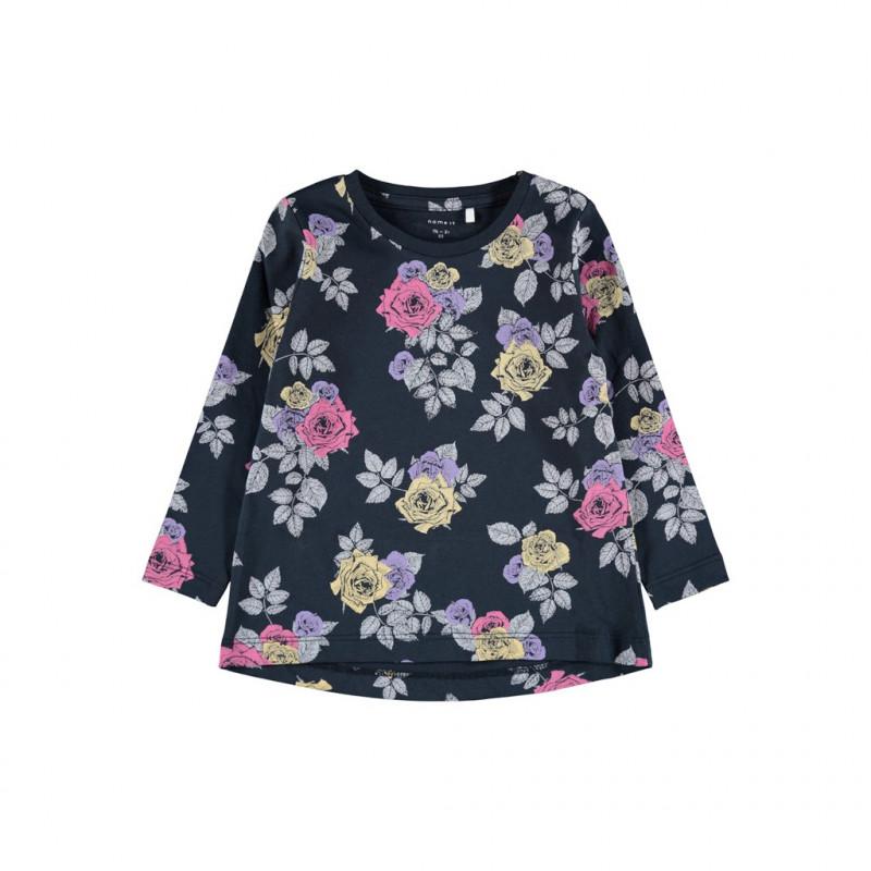 Βαμβακερή μπλούζα με μακριά μανίκια και floral print, μπλε ναυτικό  278608