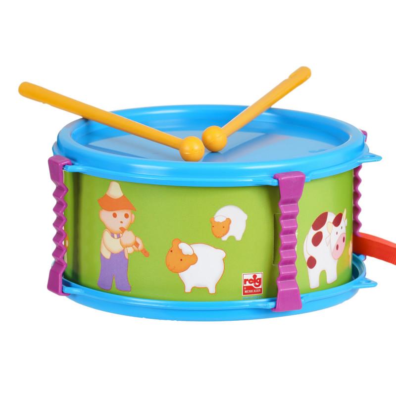 Παιδικό τύμπανο, σε πορτοκαλί χρώμα με χαρούμενα σχέδια  281320