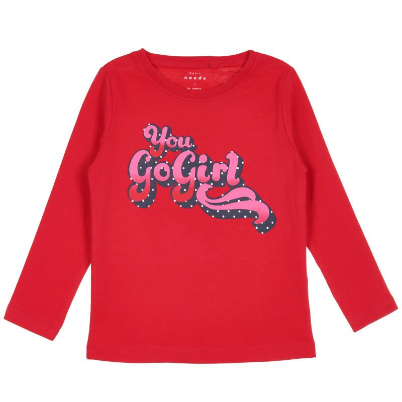 Ονομάστε το οργανικό βαμβακερό τοπ με μακριά μανίκια, πλούσιο κόκκινο, για κορίτσια  296179