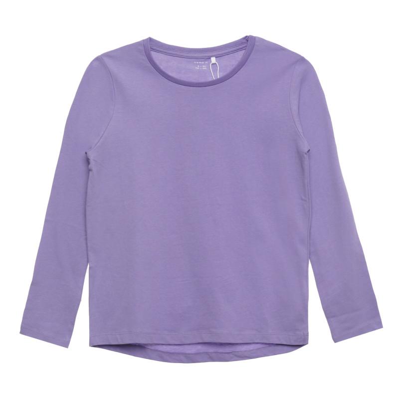 Βαμβακερή μπλούζα με μακριά μανίκια, μοβ  296423