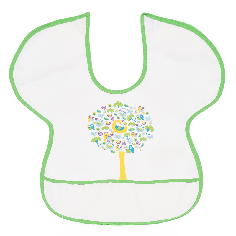 Αδιάβροχη σαλιάρα με πράσινο άκρο και εικόνα από χρωματιστό δέντρο  296479