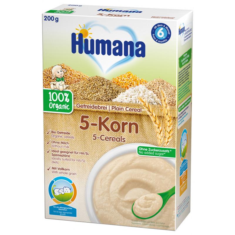 Μη γαλακτοκομικά βιολογικά κουάκερ 5 κόκκων, 6+ μηνών, κουτί 200 g.  2968