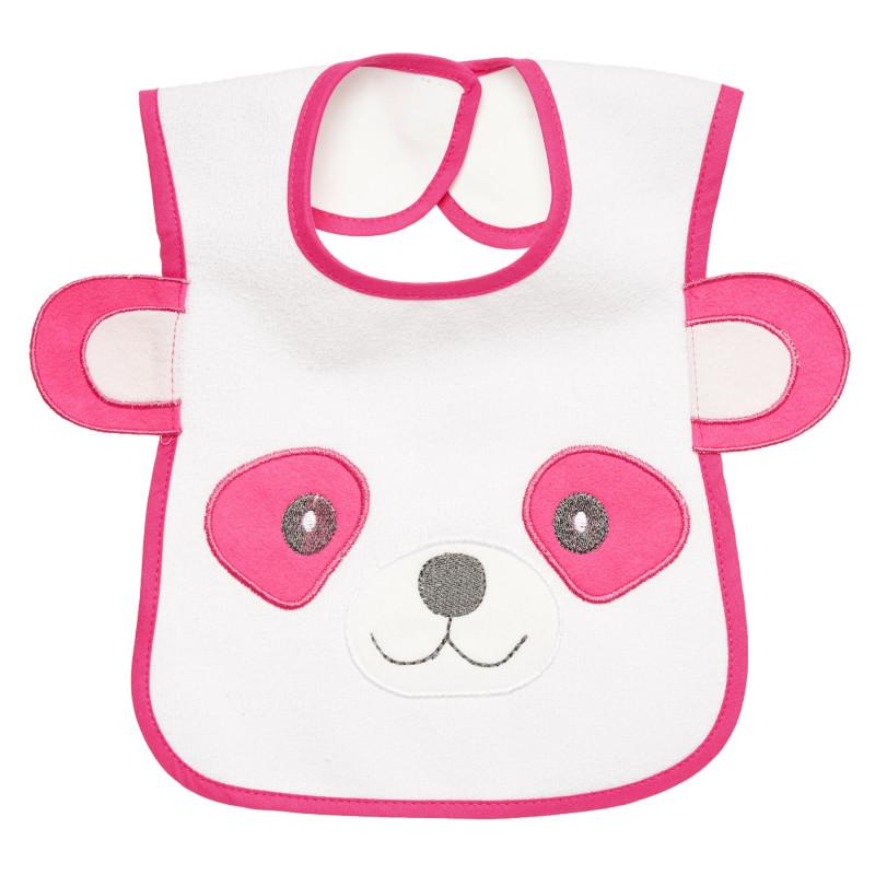Αδιάβροχη σαλιάρα, αρκούδα με αυτιά σε ροζ χρώμα για κορίτσια  297008
