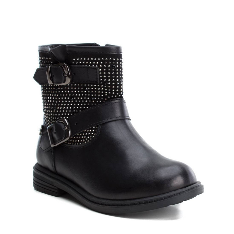 Δερμάτινες μπότες για κορίτσι με διακοσμητική ζώνη και γυαλιστερά τρουξ  2998