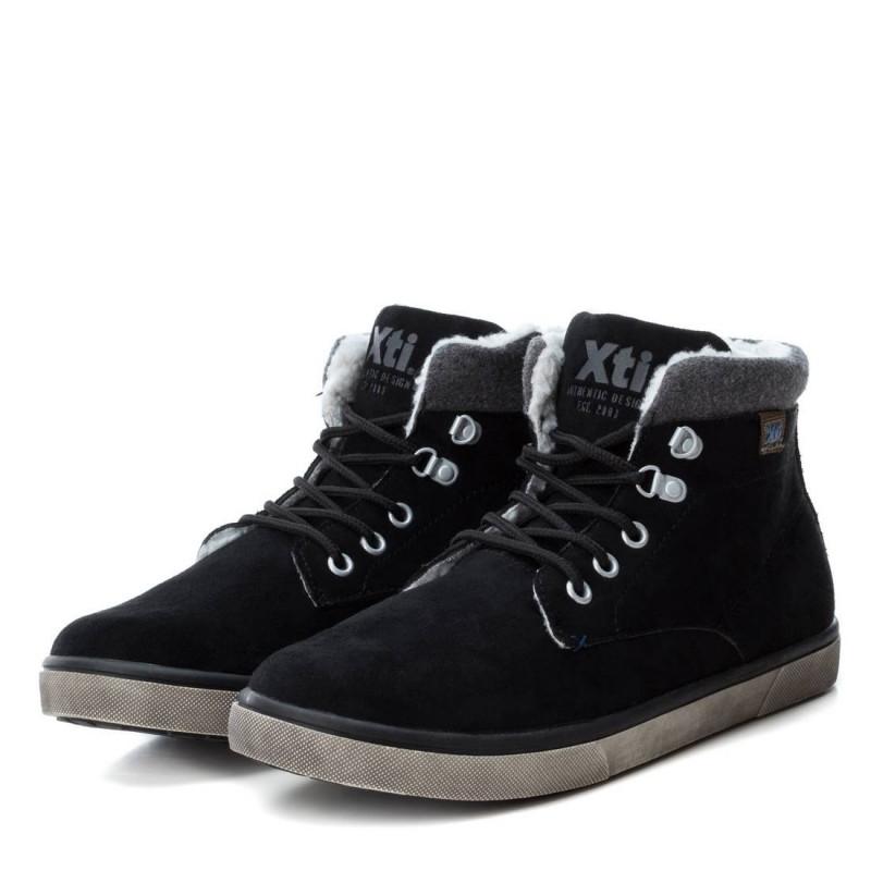 Δερμάτινες μπότες με υφασμάτινη άκρη στον αστράγαλο για αγόρι, μαύρο  3023