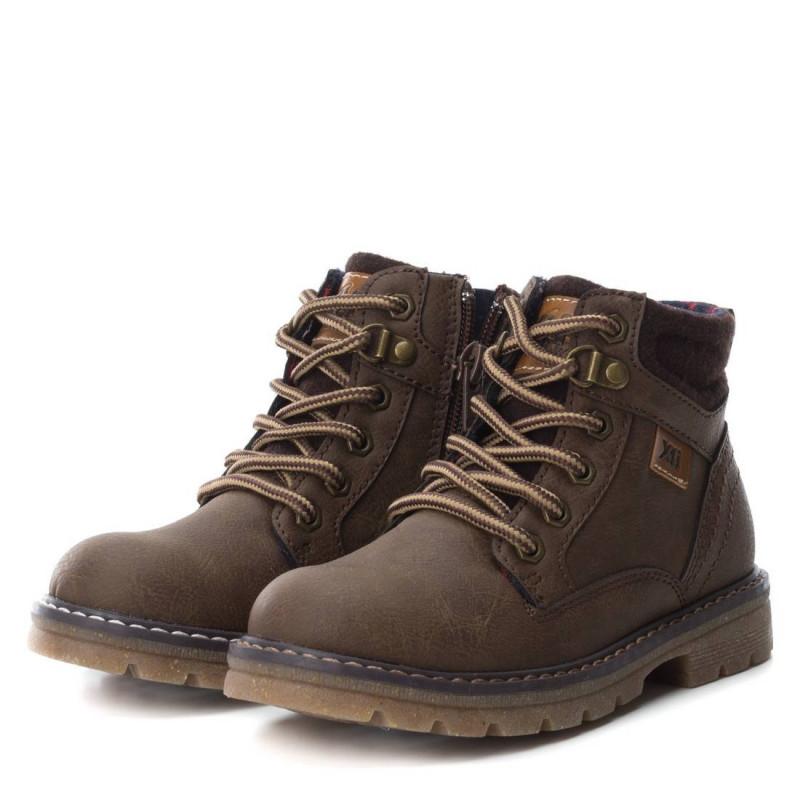 Δερμάτινες μπότες για αγόρια με κορδόνια και φερμουάρ, καφέ  3034