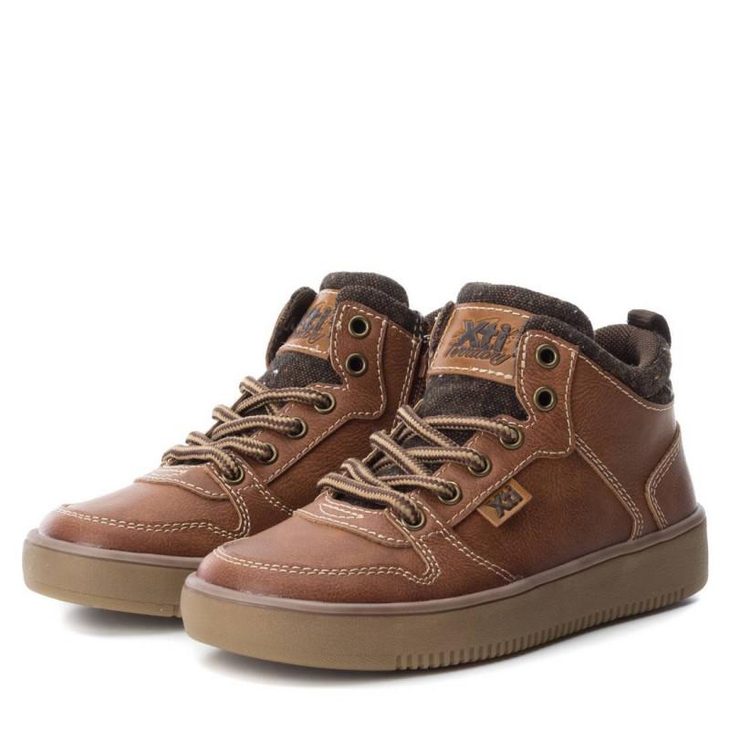 Δερμάτινες μπότες για αγόρια με κορδόνια και φερμουάρ  3038