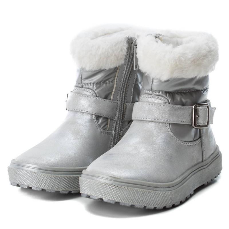 Δερμάτινες ασημένιες μπότες για ένα κορίτσι  3042