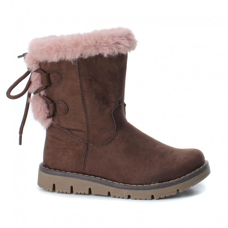 Σουέτ μπότες με ροζ κάτω για κορίτσια, καφέ  3096