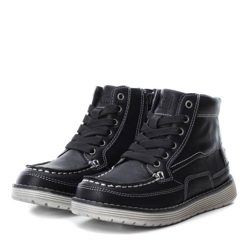 Μαύρες δερμάτινες μπότες για αγόρια με κορδόνια και φερμουάρ  3107