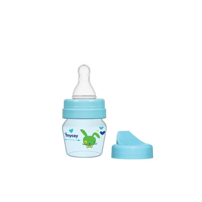 Μπουκάλι τροφοδοσίας πολυπροπυλενίου, με νεογνά ροής πιπίλας, 0+ μηνών, 30 ml, χρώμα: μπλε  3122