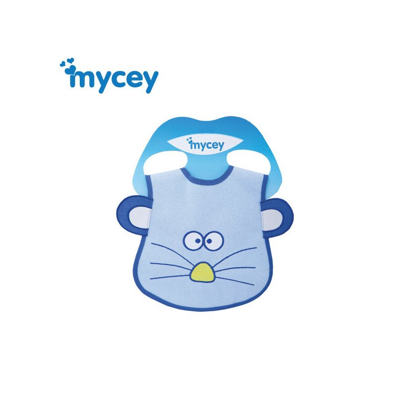 Αδιάβροχη σαλιάρα, ποντίκι με αυτιά εκτύπωση σε μπλε χρώμα για ένα αγόρι  3176