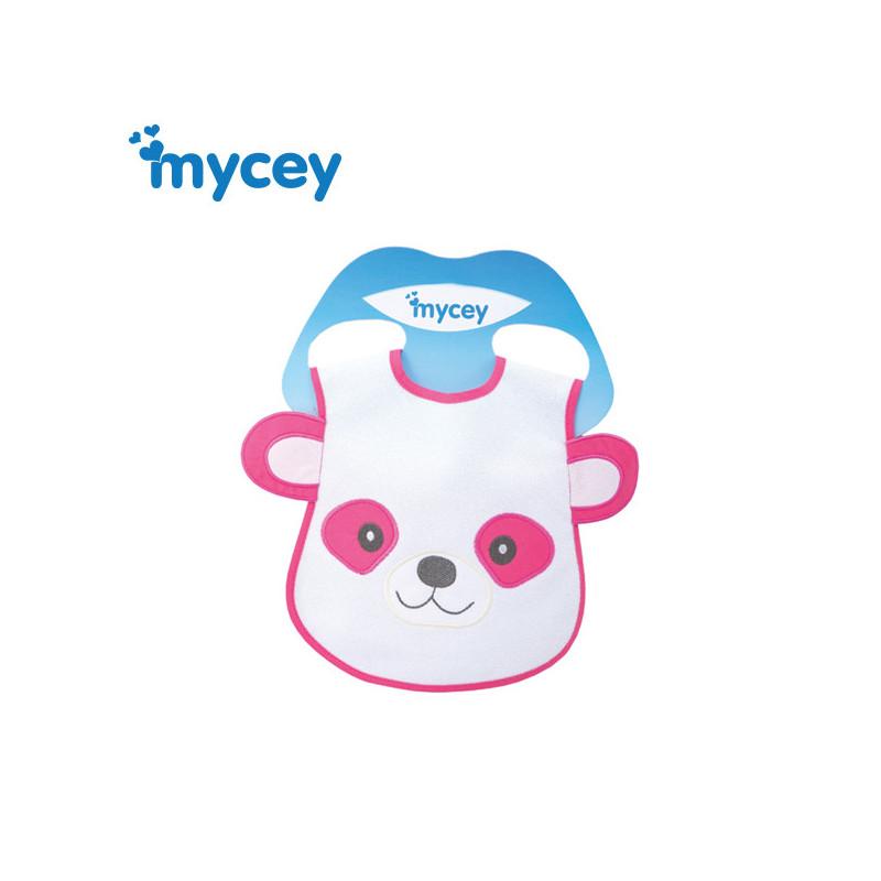 Αδιάβροχη σαλιάρα, αρκούδα με αυτιά σε ροζ χρώμα για κορίτσια  3177