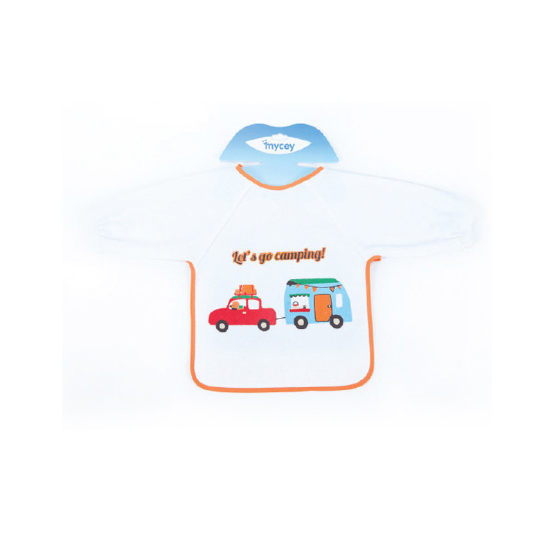 Σαλιάρα με μανίκια και πορτοκαλί στρίφωμα για αγόρια  3179