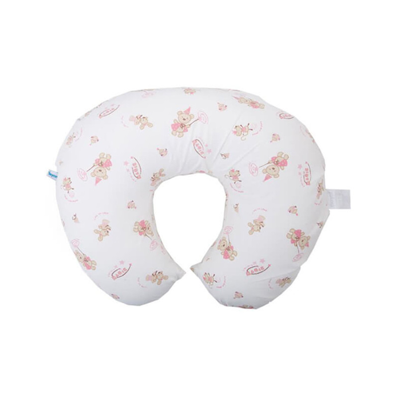 Βαμβακερό μαξιλάρι θηλασμού 55 x 45 x 18 cm, λευκό και ροζ  3202