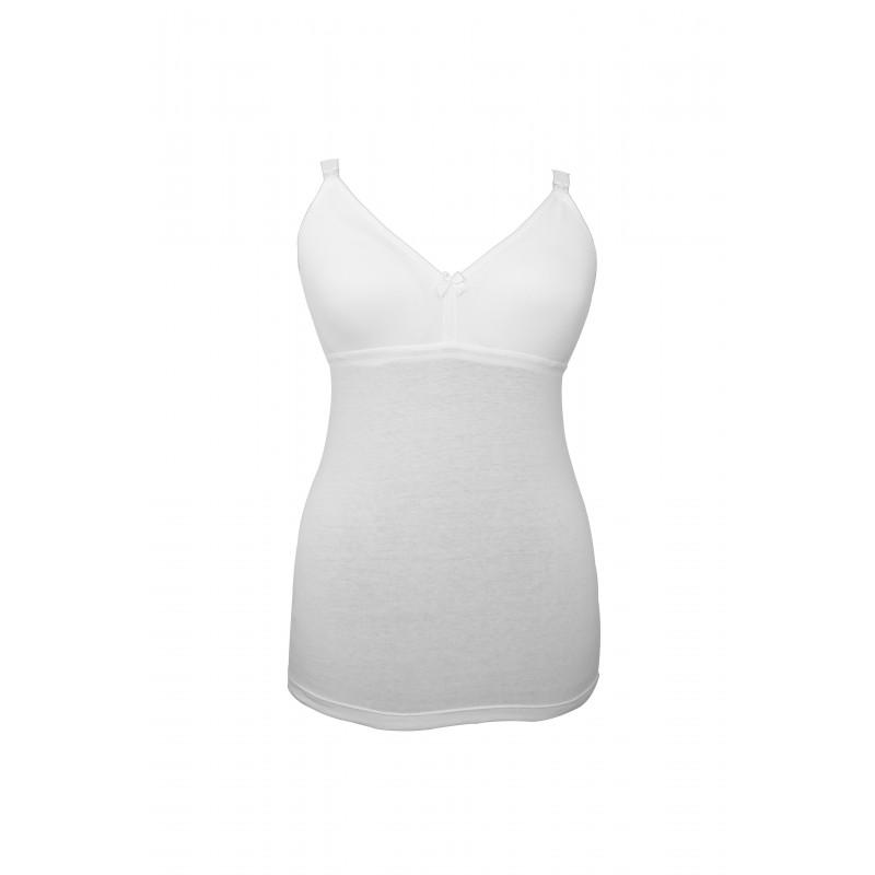 Βαμβακερή μπλούζα για θηλάζουσες μητέρες, σε λευκό χρώμα, μέγεθος 95  3216