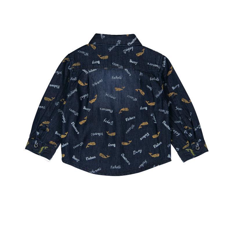Βαμβακερό πουκάμισο με μακριά μανίκια και εφέ για ένα αγοράκι  336