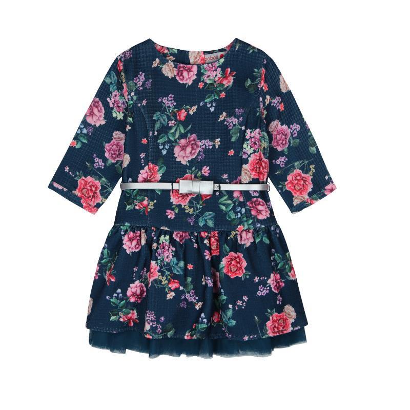 Μακρυμάνικο φόρεμα με φλοράλ σχέδια και ζώνη  3650