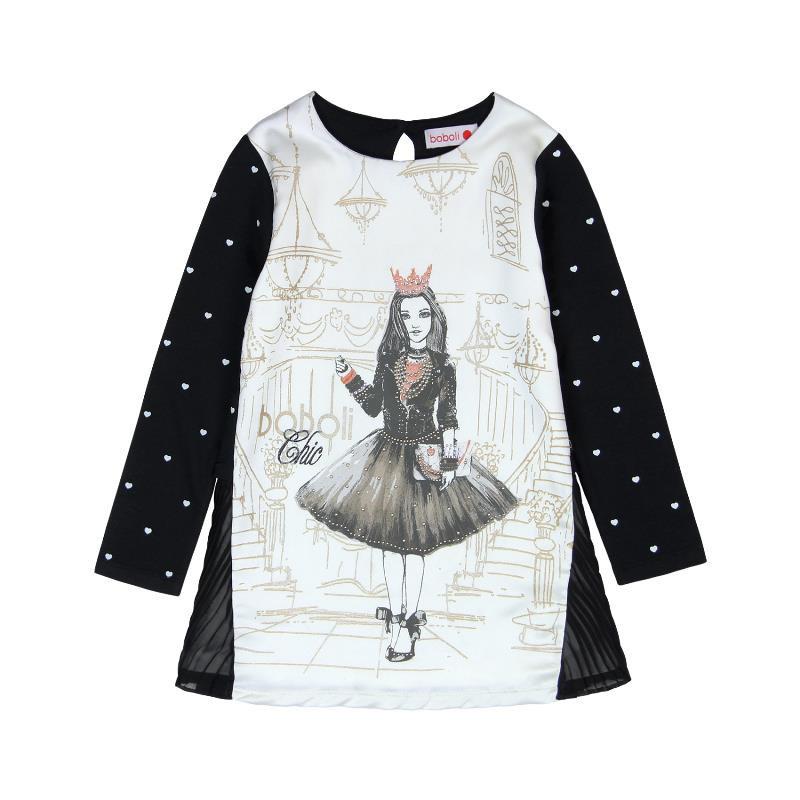 Μακρυμάνικο φόρεμα για κορίτσι, με τυπωμένα σχέδια και πουά   3658