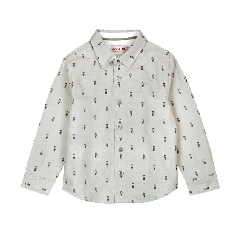 Βαμβακερό πουκάμισο για αγόρι, με μικρά κεντήματα  3686