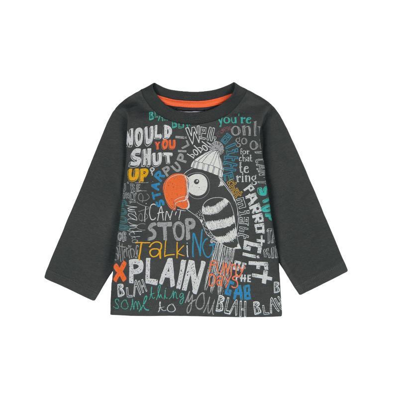 Βαμβακερή μπλούζα με μακρύ μανίκι και πολύχρωμη εκτύπωση για ένα αγοράκι  379