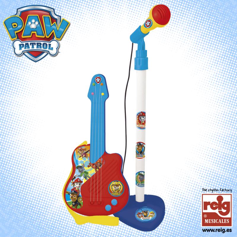 Παιδική κιθάρα και μικρόφωνο, σε μπλε-κόκκινο χρώμα  3796