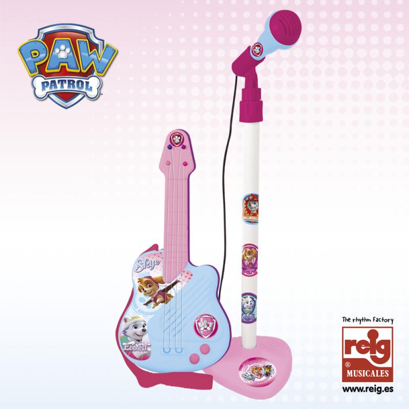 Παιδική κιθάρα και μικρόφωνο, σε ροζ χρώμα  3813