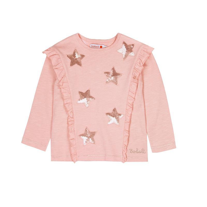 Μακρυμάνικη μπλούζα για κορίτσια με λαμπερές πούλιες και διακοσμητικά στοιχεία  441