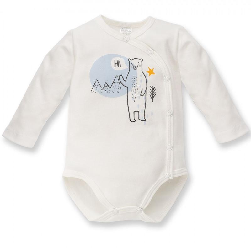 Βαμβακερό, μακρυμάνικο φορμάκι σε λευκό χρώμα, με χαρούμενο σχέδιο με πολική αρκούδα, unisex  44428