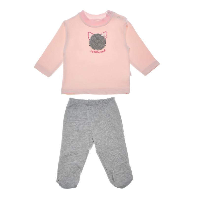 Σετ παντελόνι και μπλούζα με γατάκι απλικέ για κορίτσι.  54922