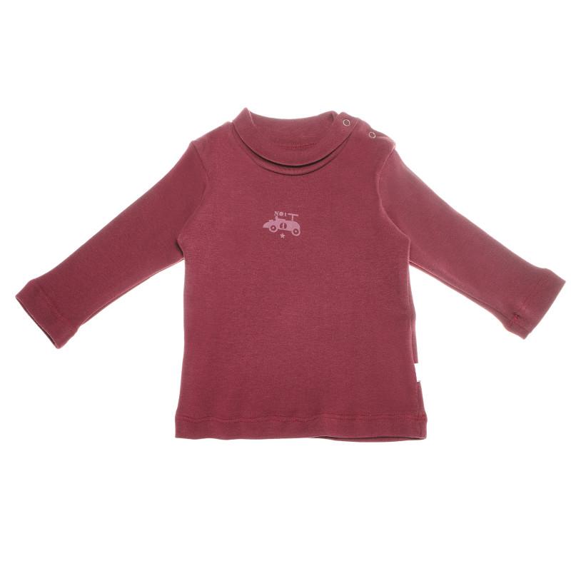 Βρεφική, βαμβακερή, μακρυμάνικη μπλούζα σε μπορντό χρώμα με μικρό τυπωμένο σχέδιο, για αγόρι  55093