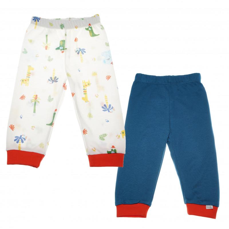 Σετ με βαμβακερά παντελόνια σε μπλε χρώμα και με σχέδια  για αγοράκι  55269