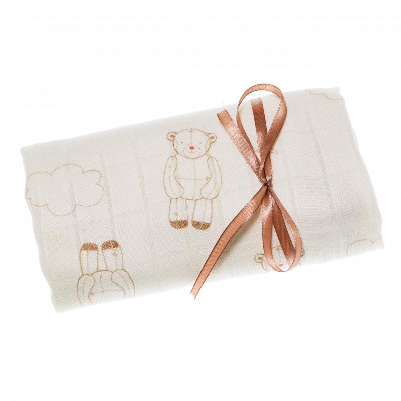 Βαμβακερό πανί μωρού σε λευκό χρώμα με εκτύπωση  69052