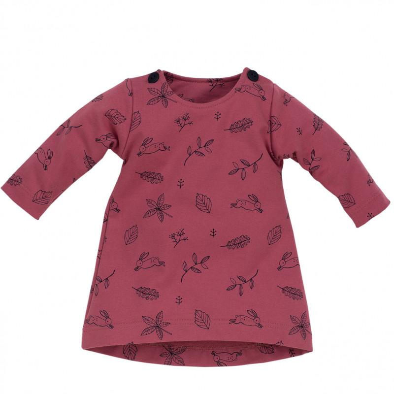 Μακρυμάνικο φόρεμα για κορίτσι, σε σκούρο ροζ χρώμα  715